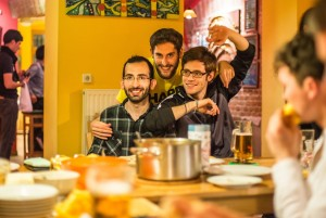 our volunteer team Ivan, Javier & Pietro, happy after cooking a great meal for our guests&staff
